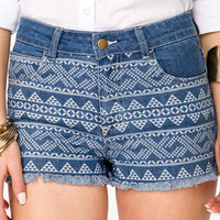 Southwestern Print Frayed Denim Shorts