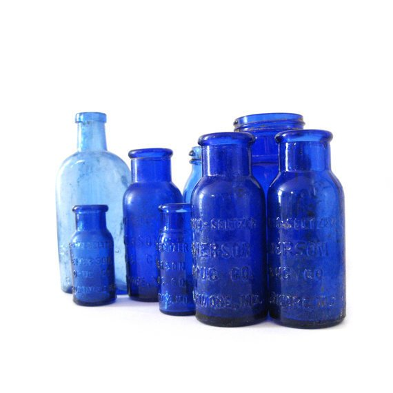 8 antique cobalt blue bottles by lilyandrubyvintage on Etsy