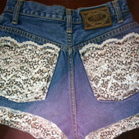 High waisted or low rise leopard and lace denim by AngeliqueMerici