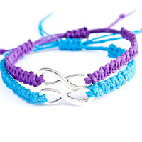 Infinity Friendship Hemp Bracelets Purple and Turquoise