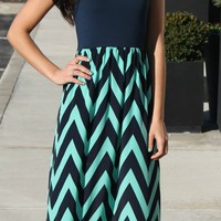 Tank Chevron Dress- Navy/Mint