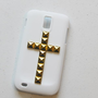 Cross gold  stud T-mobile samsung galaxy S2 T989(Hercules) Rubberized Hard  phone cover- cross rivet stud phone case