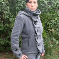 Gray ruffle front Polartec fleece womens jacket by CotyLeeClothing