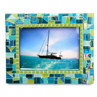 Turquoise and Lime Green Mosaic Picture Frame, 5 x 7