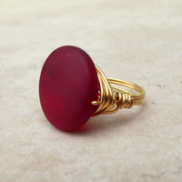 Red Sea Glass Ring:  24K Gold Wire Wrapped Cherry Red Beach Jewelry, Size 7