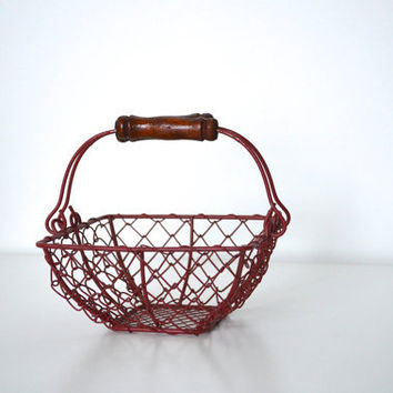 Easter red metal wire basket by SCAVENGENIUS on Etsy