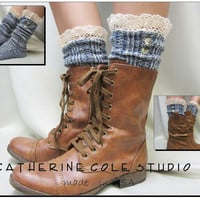 Nordic Lace  short boot  lace socks denim by CatherineColeStudio
