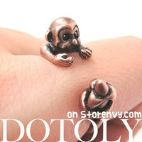 Miniature Monkey Banana Animal Wrap Around Ring Copper Sizes 4 to 8.5