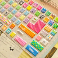 Rainbow Color Dot and Heart Pattern Keyboard sticker