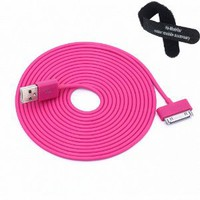 Colorful 30pin USB Data Sync and Charge Cable Compatible with Iphone 4/4s, Iphone 3g/3gs, Ipod (Hot Pink,10ft Long): Cell Phones & Accessories