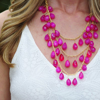 Tears Of Joy Necklace: Fuchsia | Hope's