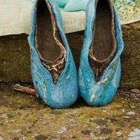 Felted slippers made of softest merino wool TURQUOISE by ing00te