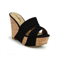 Amazon.com: Slide Platform Cork Wedge Sandal Light Black: Shoes