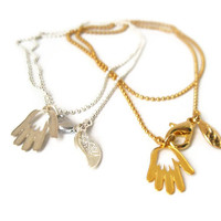 Silver GoodLuck bracelet with Hamsa hand protection by loelle