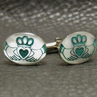 Irish Claddagh Engraved Mother of Pearl Cufflinks A by Cuftlynx