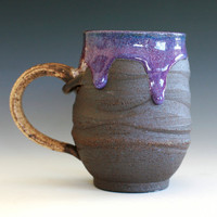 a Large Purple Coffee Mug Holds 16 oz handmade by ocpottery