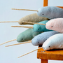 large narhwal  grey narwhal soft sculpture by MountRoyalMint