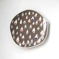 Dessert plate grey with colorful teardrops  made to order