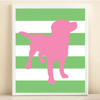 Puppy Dog Art Print: Striped Silhouette 8x10 Nursery Poster in Pink & Green - Customize Your Colors