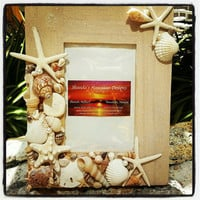 Seashell Starfish Picture Frame, Nautical Beach Home Decor