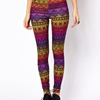 ASOS Leggings in Rainbow Aztec Print at asos.com