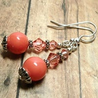 Pink Coral Shell Pearl w Swarovski Rose Peach Crystal Dangle Earrings