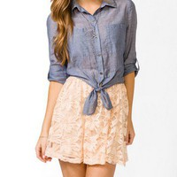 Self-Tie Chambray Shirt | FOREVER 21 - 2020376952