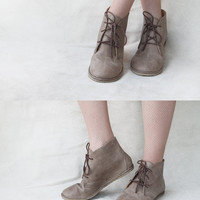 Leona in Ecru - Handmade Leather flat lace-up ankle boots - CUSTOM FIT
