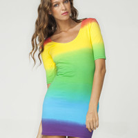 Motel Jolene Short Sleeve Bodycon Dress in Rainbow Fade Print - Motel Rocks