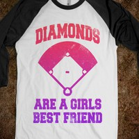 Diamonds Are A Girls Best Friend (Baseball Shirt) - Sports Fun - Skreened T-shirts, Organic Shirts, Hoodies, Kids Tees, Baby One-Pieces and Tote Bags