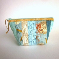 Beach Stripe Zipper Pouch Toiletries Bag Aqua Shell Quilted Pouch OOAK | EweniqueEssentials - Bags & Purses on ArtFire