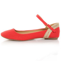Mixx Amy 61 Red Linen Ankle Strap Ballet Flats