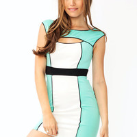 colorblock-body-con-dress BLUSH MINT - GoJane.com
