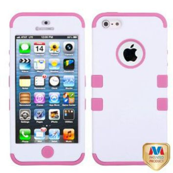 MYBAT IPHONE5HPCTUFFSO016NP Premium TUFF Case for iPhone 5 - 1 Pack - Retail Packaging - Ivory White/Light Pink