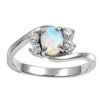 Sterling Silver Oval White Lab Opal Ring (Size 5 - 10)
