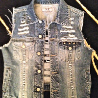 Destroyed Jean Vest WIth Studding by Moleek7 on Etsy