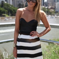 Black & White Strapless Stripe Dress with Pleather Bustier