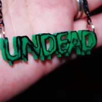 OOAK Altered UNDEAD Necklace on Black Chain by TheBeesKneesCrafts