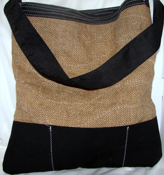 Beach Bag Recycled Burlap Brown and Black OOAK by bagsbyhags45