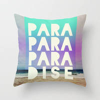 PARADISE (AQUA) Throw Pillow by Leah Flores Designs | Society6