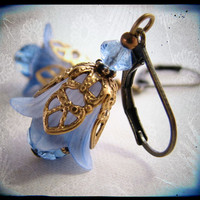 Sapphire blue filigree shabby flower earrings by shadowjewels