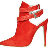 Plomo Coral Red Suede Braided Bootie