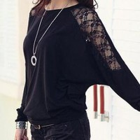 BLACK LACE STYLE LONG SLEEVE SWEATSHIRT