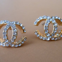 Chanel Crystal Gold Earring Studs Classic by PiccolaJewelry