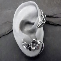 Sterling Flower and Leaf  Ear Wrap  SUMMER  by SunnySkiesStudio