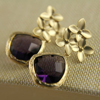 Purple Amethyst Cherry Blossom Earrings by anatoliantaledesign