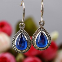 Blue Corundum 925 Sterling Silver Drop Shape Earrings