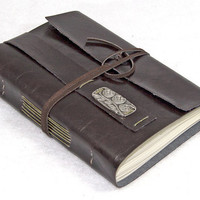 Dark Brown Vegan Faux Leather Journal with Bookmark