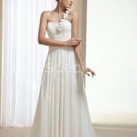 Easter Day Promotion:White A-line One-shoulder Flowers Chapel Train Chiffon Wedding Dress-SinoSpecial.com
