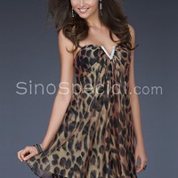 Fascinating A-line V-neck Neckline Mini Sequins Chiffon Evening Dress-SinoSpecial.com